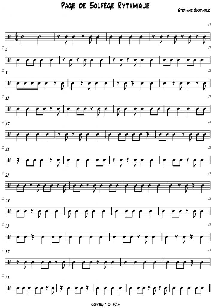 Page de Solfège Rythmique système Corrections independance binaire
